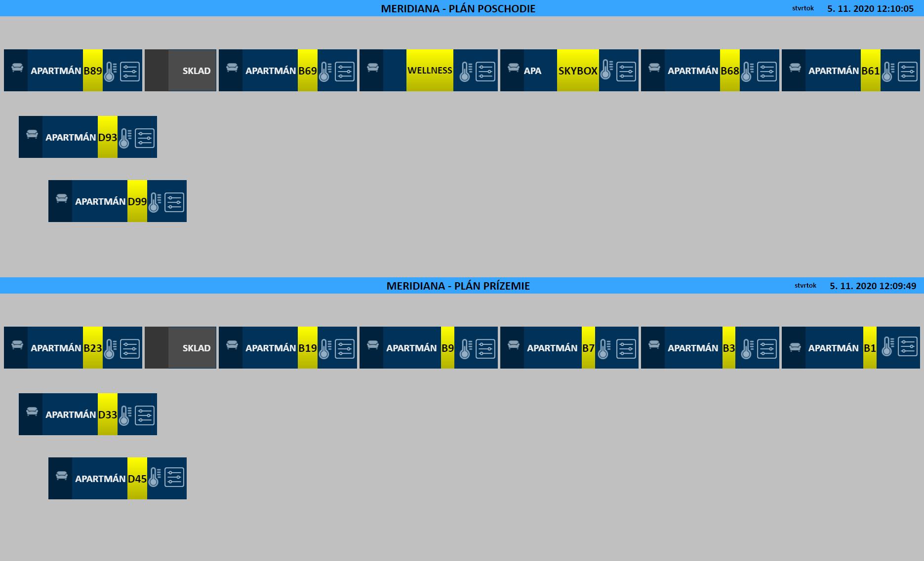 webové rozhranie - situačný plán apartmánov